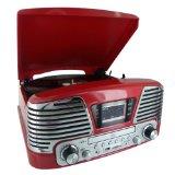 PLATINE TOURNE DISQUES 3 VITESSES-SD-LECTEUR CD-RADIO-ENCODEUR-USB 2.0-MP3 ROUGE METALLISE - Best Reviews Guide