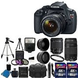 Canon EOS Rebel T5 Digital SLR + canon EF-S 18-55mm f/3.5-5.6 IS & EF 75-300mm f/4-5.6 III Lens + 58mm 2x Lens + Wide Angle Lens + Auto Power Flash + UV Filter Kit + 24GB SDHC card + Accessory Bundle - Best Reviews Guide