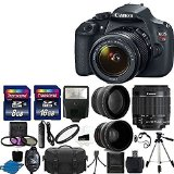 Canon EOS Rebel T5 DSLR Digital Camera & EF-S 18-55mm f/3.5-5.6 IS Lens + 2x telephoto Lens + 58mm Wide Angle Lens + Flash + 59-Inch Tripod + UV Filter Kit + 24GB SDHC card + Accessory Bundle - Best Reviews Guide