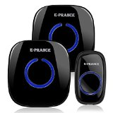 [Wireless Doorbell] E-PRANCE® Plug-in Doorbell Kit with 1 Button 2 Door Chime,52 Chime Tones,1000ft / 300m Range(Black) - Best Reviews Guide