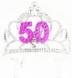 Forum Novelties Happy Birthday 50th Silver Pink Tiara - Best Reviews Guide