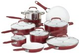 WearEver C943SF Pure Living Nonstick Ceramic Coating Scratch Resistant PTFE PFOA and Cadmium Free Dishwasher Safe Oven Safe Cookware set, 15-Piece, Red - Best Reviews Guide