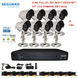 SEGUARD (TM) Surveillance Cameras system, dvr kit, security camera system 8 CH H.264 DVR with 8 Cameras,Support Iphone, Android, WinCE, Blackberry view, with all accessories - Best Reviews Guide